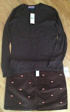 """NWT Vineyard Vines Wool Cashmere V-Neck Sweater M & """"FREE"""" Embrd Whale Skirt 8"""