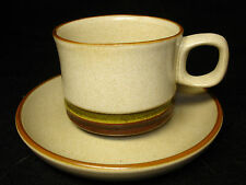 Denby Potters Wheel Tea Cup & Saucer - Green Colour