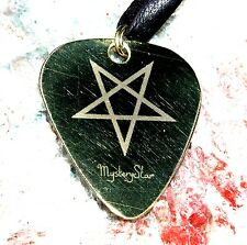 Inverted Pentagram Guitar Pick Plectrum Metal Brass Pendant Necklace Handmade