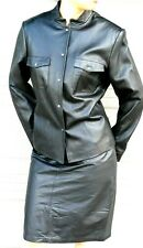 JONES NEW YORK BLACK  LEATHER  SUIT -  JACKET and SKIRT size 8