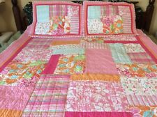 DYR Do Your Room Target Twin Quilt Set Hawaiian Tropical Hibiscus Flip Flop Pink