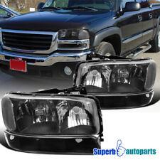 For 1999-2006 Gmc Sierra 2000-2006 Yukon Xl Black Headlights Signal Bumper Lamps (Fits: Gmc)