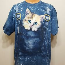"""The Mountain Kitten In Overalls Pocket Faux Acid Wash Tshirt Sz 2XL 50"""" Chest"""
