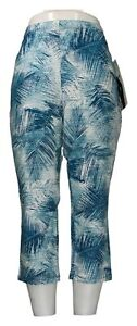 Women With Control Leggings Plus Sz 1X Pull-On Print Cropped Blue A350560
