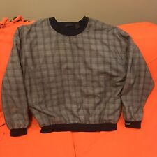 Antigua Mens Gray Long Sleeve Woven Poly Blend Pullover Golf Top Large