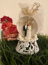 Antique Wedding Cake Topper Vintage Sweet Brunette Couple Flowers Tulle & Bell