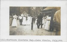 Northern Electric Rwy, Lake Winola PA, July 4th RPPC Real Photo 1911 Wyoming Cty