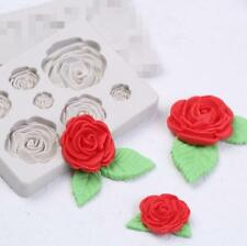 3D 7 ROSE FLOWER Silicone Fondant Cake Topper Mold Mould Chocolate Candy Baking