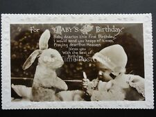 LITTLE BABY PLAYING WITH BUNNY RABBIT Birthday Greeting Old RP Postcard