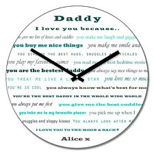 Personalised Daddy I love you Wall Clock - Add Name Fathers Day Gift 30cm