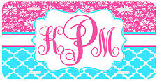Personalized Monogrammed License Plate Auto Car Tag Daisies Pink Turquoise