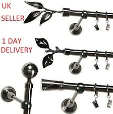 Metal Single Curtain pole/rod set BLACK NICKEL ⌀19mm FAST & FREE  delivery