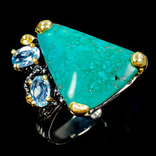 Unique Natural Turquoise 925 Sterling Silver Ring Size 8/R104247