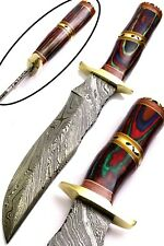 DAMASCUS STEEL HANDMADE HUNTING KNIFE- WOOD -US -220