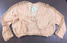 Free People peach cropped top boho sheer lace knit cross open front S NWT