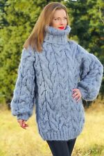 Grey mohair sweater thick winter pullover hand knit turtleneck jumper SUPERTANYA