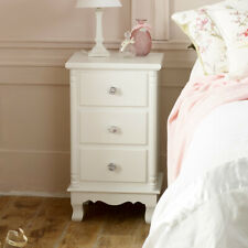 White bedside lamp table 3 draewr chest bedroom living room French chic storage