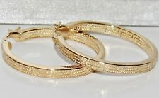 9CT YELLOW GOLD & SILVER GREEK KEY LADIES CREOLE HOOP EARRINGS