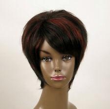 perruque femme afro 100% cheveux naturel courte méchée noir/rouge KITTY 03/1b410
