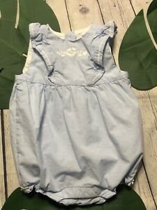 Janie and Jack Baby Girls 12-18 Months Blue  Bubble Romper