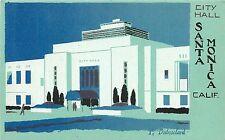 Sheehan Dubosclard Serigraph Postcard City Hall Santa Monica CA Turquoise Blue