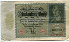 1922 10000 MARK (H) Series GERMANY REICHSBANKNOTE VAMPIRE NOTE