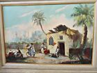 """BEAUTIFUL VINTAGE ANTIQUE OIL PAINTING  32"""" by 44"""" FRAMED WALL ART"""