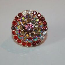 Gold tone red & AB red crystal tower stretch ring