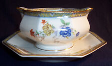 Haviland GANGA GRAVY Boat Sauce Porcelain Serving Bowl w/ Underplate Coromandel
