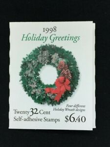 TCStamps BEAUTIFUL 1998 US 32c CHRISTMAS WREATHS COMPLETE BOOKLET PANE/20  #855