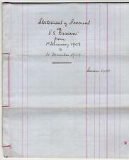 1908 Statement of Accounts for S.S. Ossian, Lochetive Steamer (C29431)