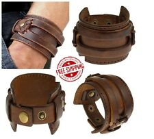"Mens Wide GENUINE Leather Bracelet Brown Cuff Punk Bangle 8.5"" Wristband USA"