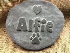 Handcarved bespoke pet memorial in natural stone, dog cat horse, hamster, heart