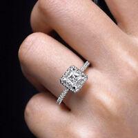 Classic Women 925 Silver Wedding Rings Princess Cut White Sapphire Size 6-10