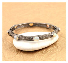 925 STERLING SILVER ANTIQUE LOOK ROSE CUT NATURAL DIAMOND & OPEL BANGLE BRACELET
