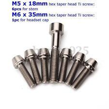 7x Ti Titanium Bolt Screw Kit M5 M6 Taper Set 6pcs for Stem 1pc for Headset Cap
