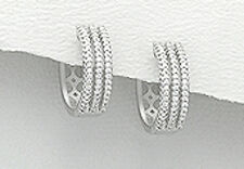 5.5g Solid 925 Sterling Silver 17mm Classic CZ Huggies Hoop Earrings SPARKLING