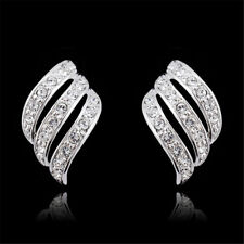 Party Clip On Rhinestone Crystal Curve Silver Huggie Diamante Twist Earrings