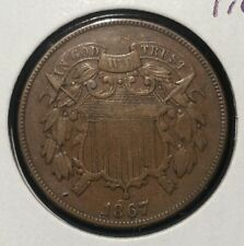 1867 TWO CENT PIECE CHOCOLATE BROWN TWO CENTS OBSOLETE DENOMINATION AMERICAN USA