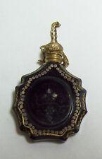 Antique Victorian Black Gilt Glass Chatalaine Scent Bottle Pendant