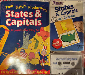 Vintage Fun States & Capitals Fact Cards 1987 Trend Ent Maps Music Book Rare Lot