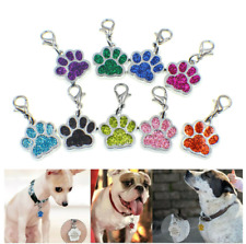 50p Pet ID Dog Cat Tags Paw Print Dangle Hang Charm With Lobster Clasp Keyring