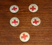 "(5) Vintage American Red Cross Pinbacks Pins World War 2 Era ""I Serve"""