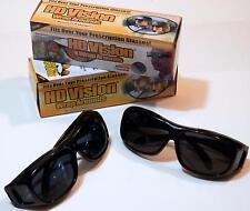 HD Vision Wraparound Black Dark Lenses Unisex Fitovers lot of 2 pair
