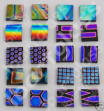 "COATINGS BY SANDBERG BLACK PATTERN DICHROIC GLASS EARRING SETS 3/8""x 3/8"" 90 COE"