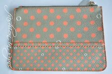 OROTON Entourage Polka Dots Zip Leather Case Organizer Sea Grass BNWT RRP $145