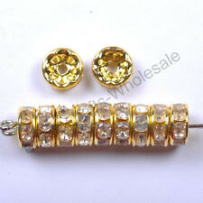 Wholesale Quality Crystal Rhinestone Silver Rondelle Round Spacer Beads 6MM 8MM