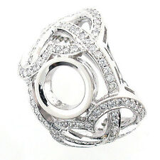 14k White Gold Diamond Ring Setting 1.54 TCW - Semi Mount Ring