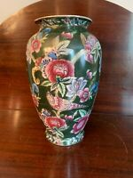 "Vintage Green floral bird Asian motif large ceramic vase 12"" tall gold accents"