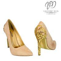 JustFab Sarina Blush Women's Shoes Faux Suede Gold Metal Heel Size 7.5 Uk